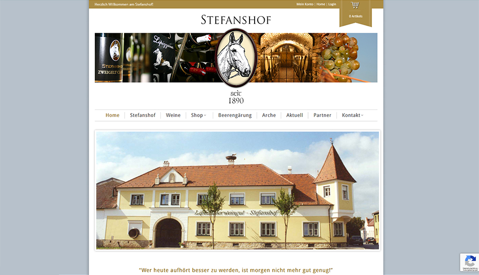 Stefanshof Website Startseite