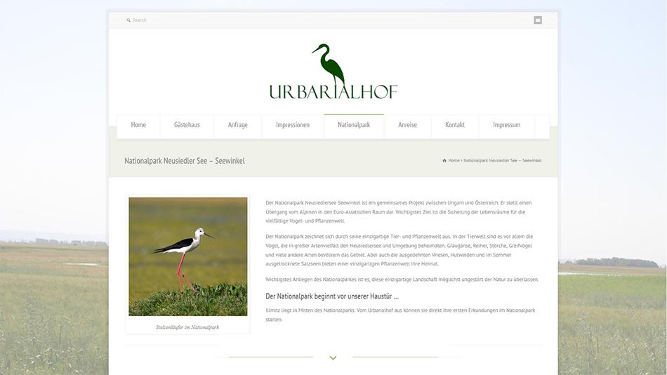 Urbarialhof Website Screen 1