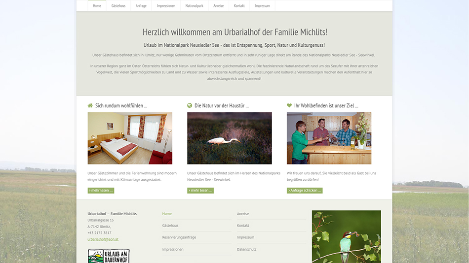 Urbarialhof Website Screen 2