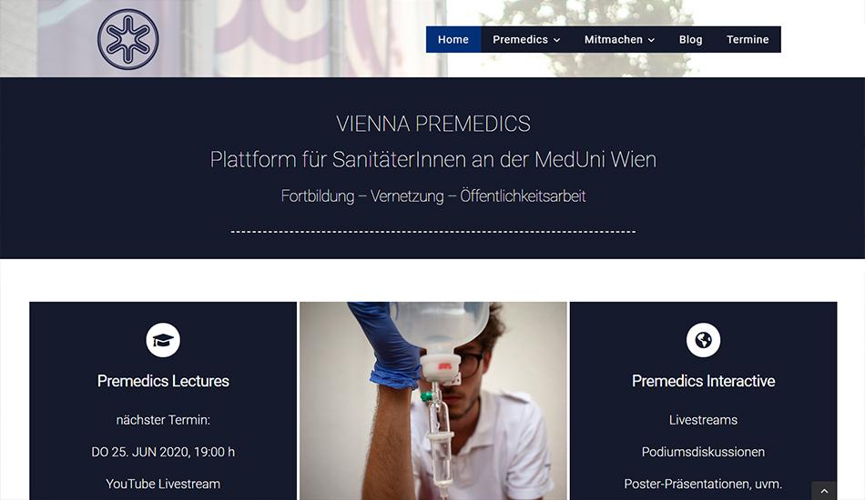 Vienna Premedics Website Screen 1