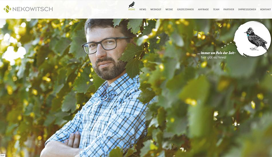 Weinbau Nekowitsch Website Screen 1