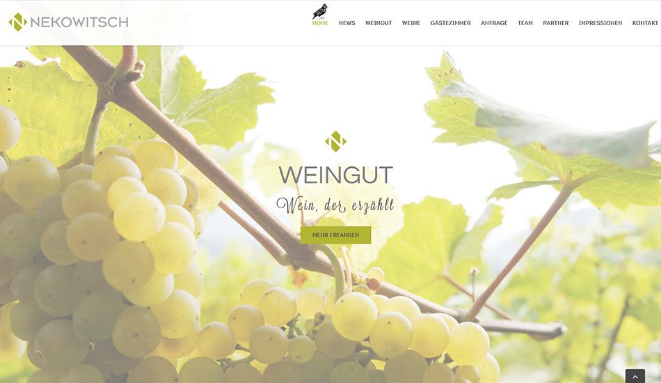 Weinbau Nekowitsch Website Screen 2