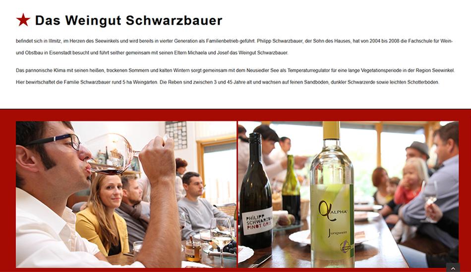 Weingut Schwarzbauer Website Screen 3