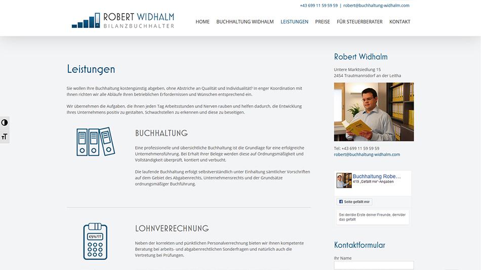 Robert Widhalm Website Screen 2