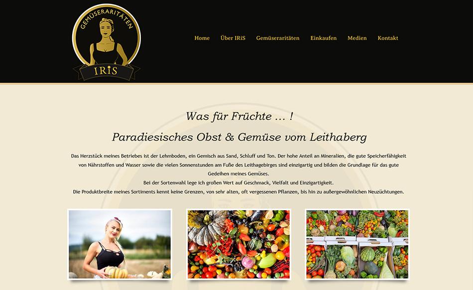 IRiS Gemüseraritäten Website Screen 2