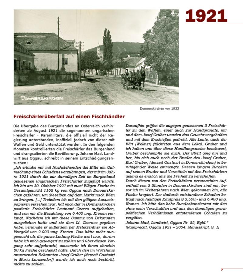 Buch 100 Jahre Burgenland Seite 1921